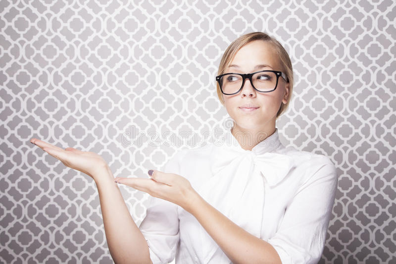 Download Young Woman Pointing stock photo. Image of glasses, pretty - 26611512