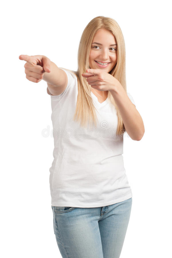 Young woman pointing away royalty free stock photo