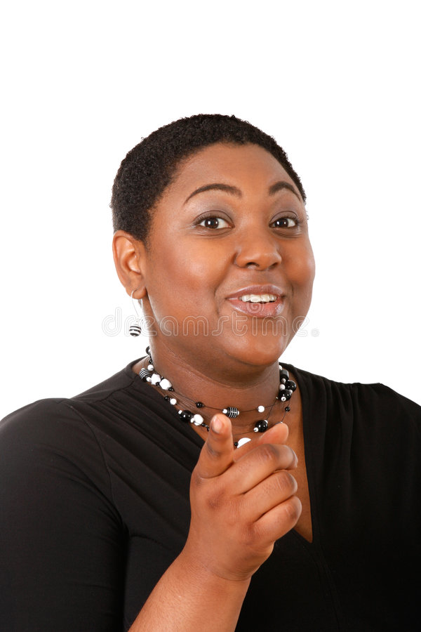 Download Young Woman Pointing Finger Stock Photo - Image: 5669338