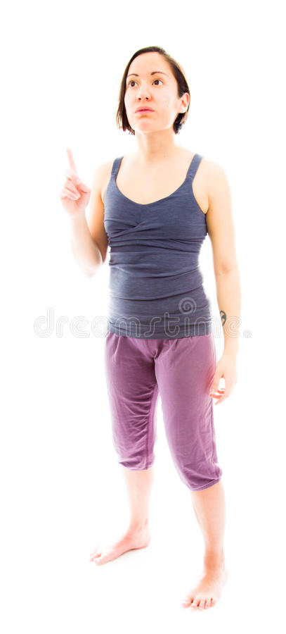 Download Young Woman Pointing Her Finger Up Stock Photo - Image: 41634136