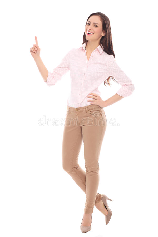 Download Young woman pointing up stock image. Image of shot, beautiful - 28478203