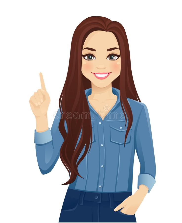 Young woman pointing up. Young cheerful woman with long hair in casual denim shirt pointing up isolated vector illustration vector illustration