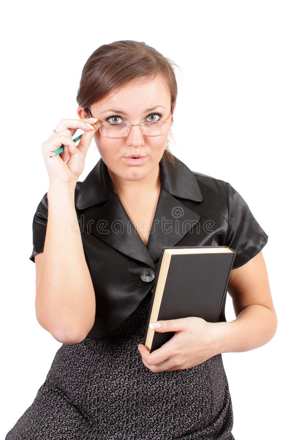 Download Young Woman In Points And With Book, Isolated. Stock Image - Image: 12591731