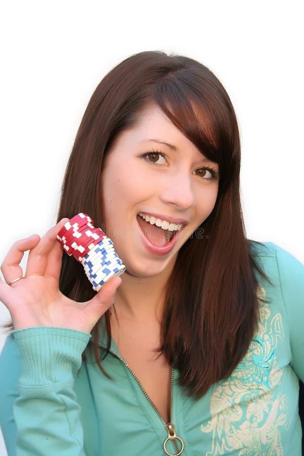 Young woman poker champ stock photo