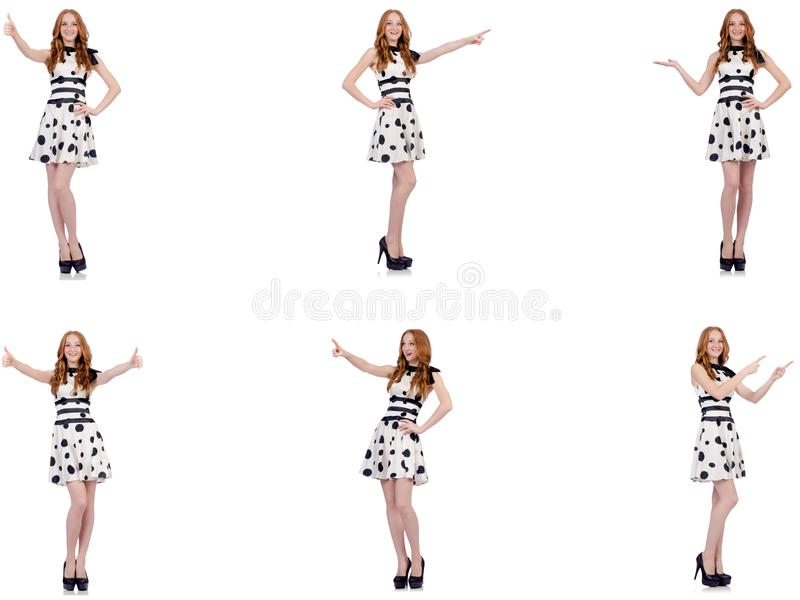The young woman in polka dot dress isolated on white stock illustration
