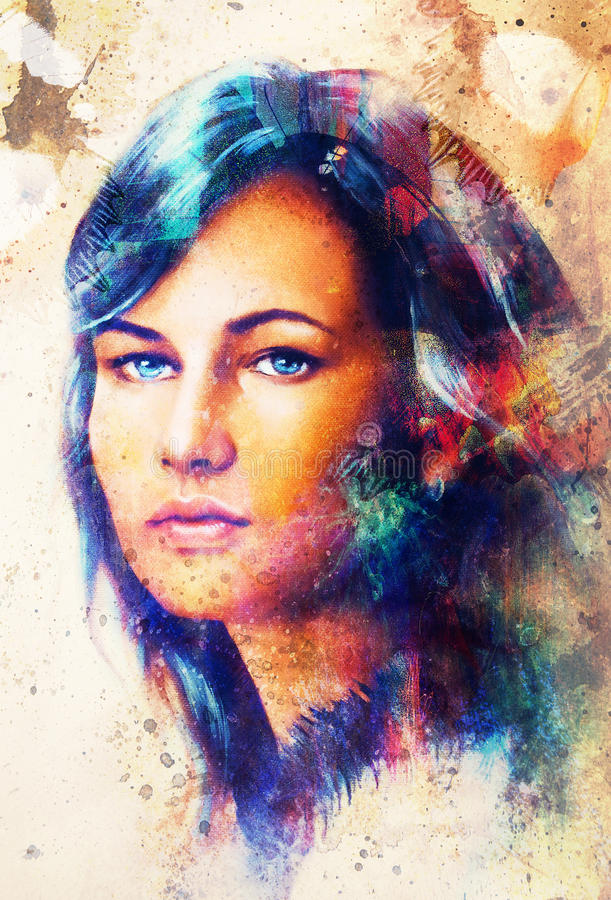 Young woman portrait, and blue eye , with spring flowers, color painting and spots structure, Abstract background. Young woman portrait, and blue eye , with royalty free illustration