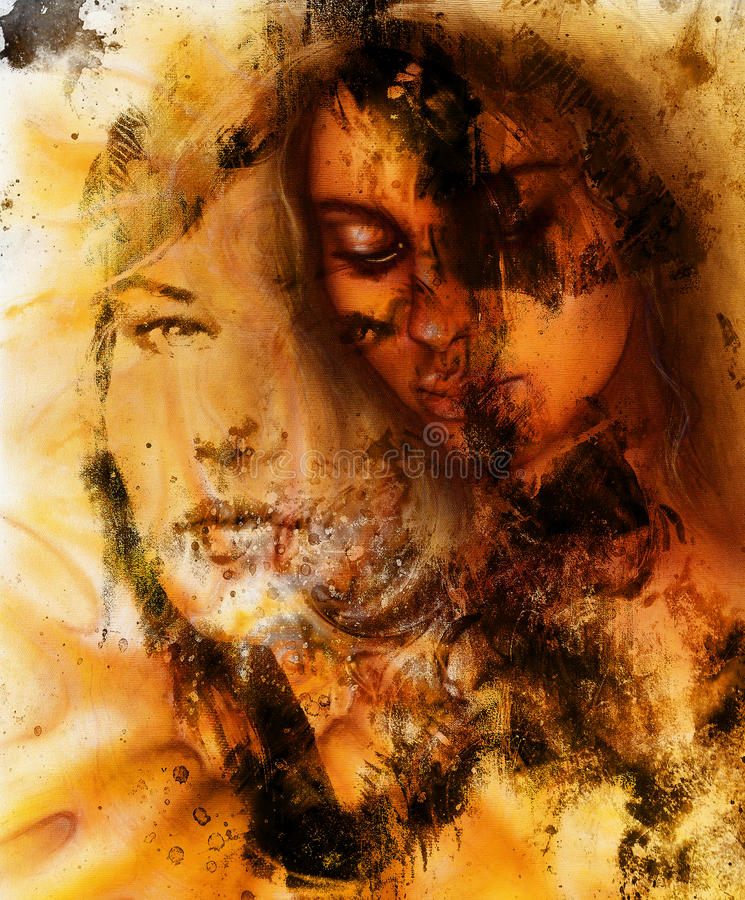 Young Woman Portrait, Color Painting On Abstract Stock
