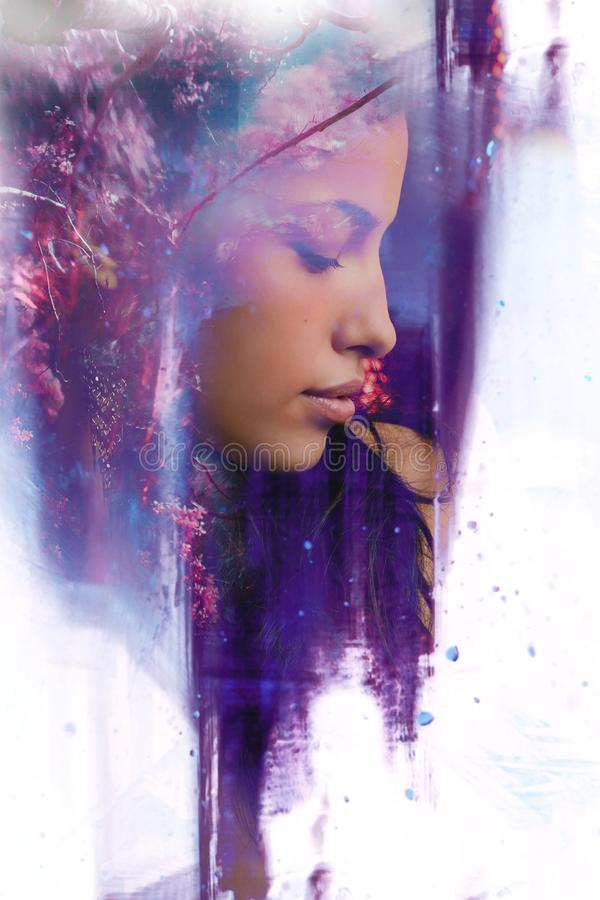 Young woman portrait double exposure royalty free stock images