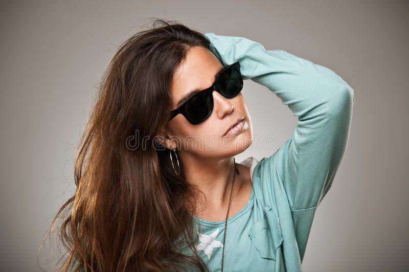 Young woman portrait with fashion sunglasses stock photos