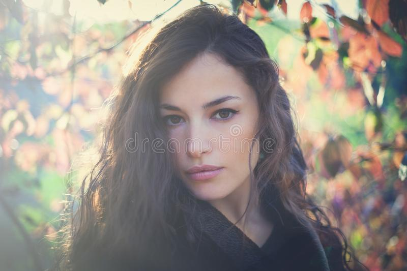 Young woman portrait in forest winter day sunset stock image