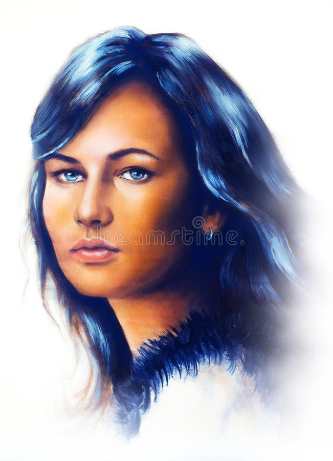 Young Woman Portrait With Long Dark Hair And Blue Eye Color