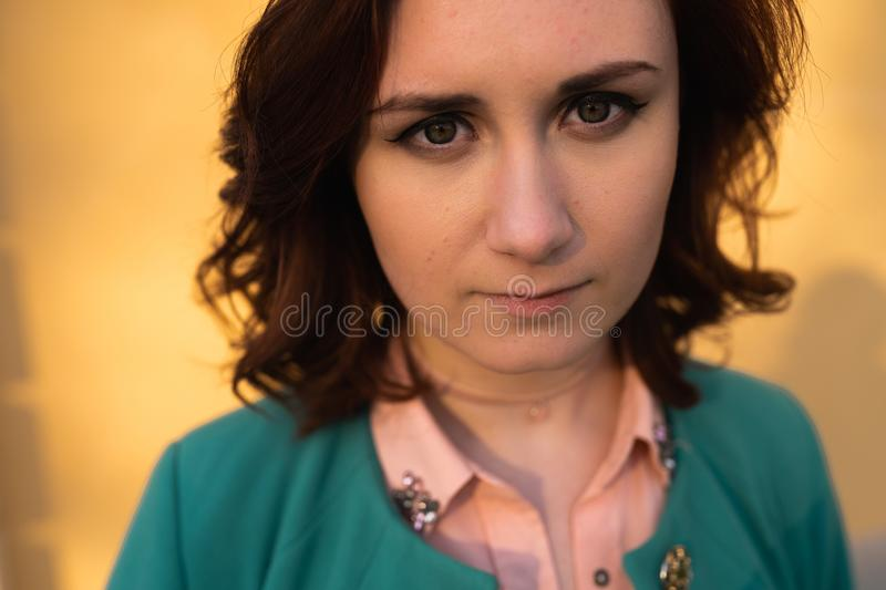 Young woman portrait - natural beauty close up - Big eyes stock image