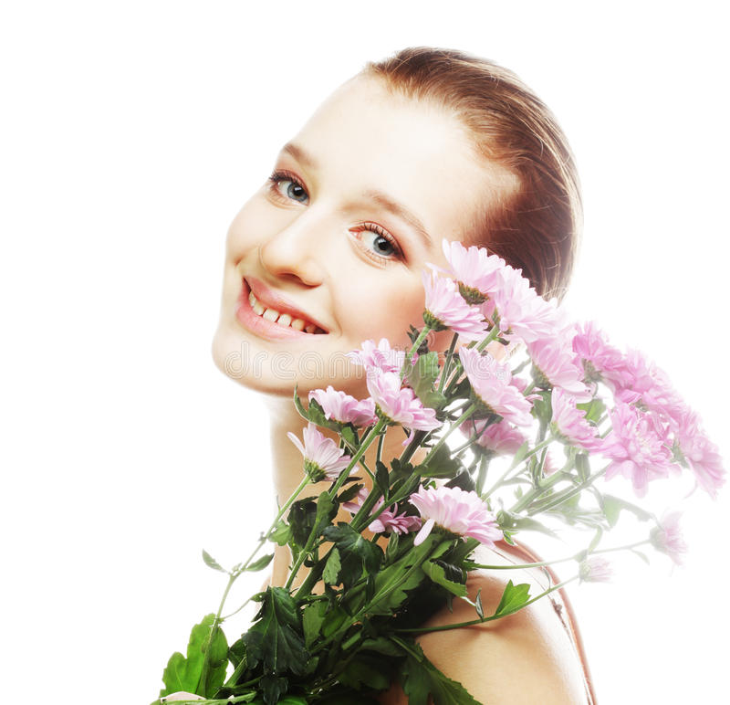 Young woman portrait with pink chrysanthemum stock photos