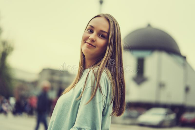 Young woman portrait on street royalty free stock photos