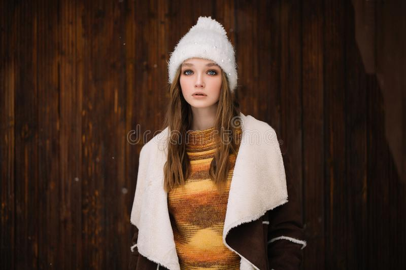 Young woman portrait winter in Christmas time royalty free stock photo