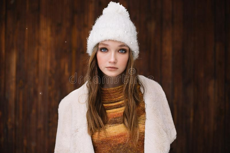 Young woman portrait winter in Christmas time stock image