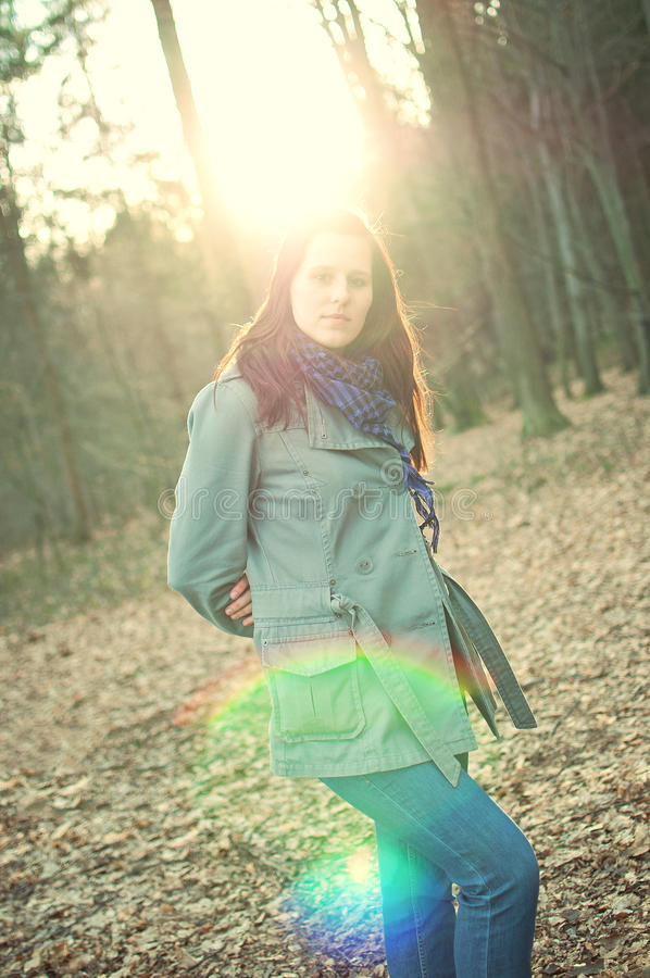 Download Young Woman Posing In A Autumn Forest Stock Photos - Image: 17826263