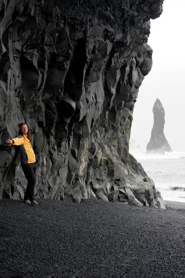 Download Young Woman Posing On Black Sand Beach Near Vik Stock Image - Image: 20695535