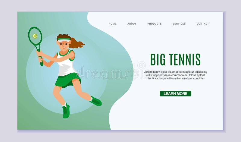 Young Woman Practicing Tennis Game. Sportswoman Character in Motion Trying to Hit Ball with Racket on Court, Girl Tennis royalty free illustration