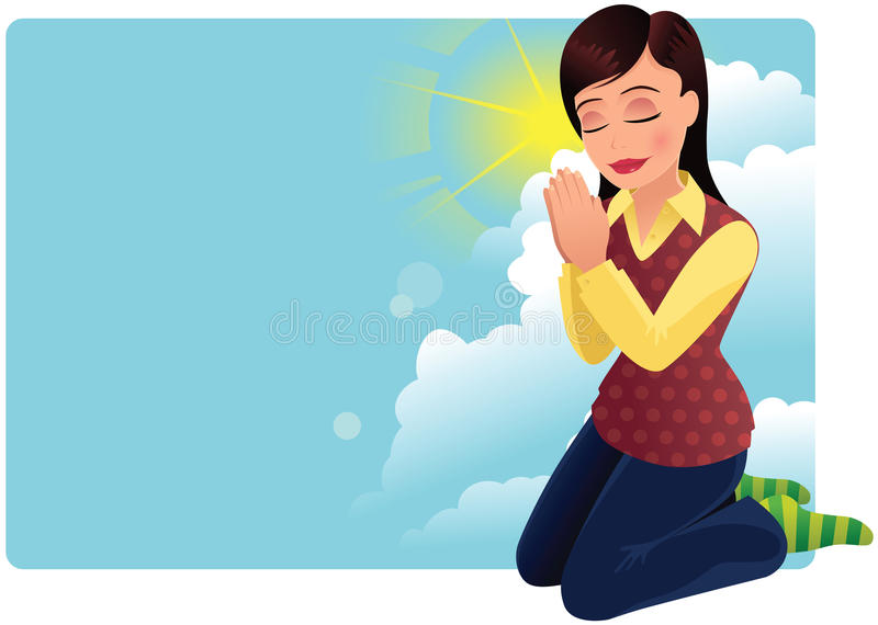 Young woman praying. An image of a young woman kneeling and praying. Plenty of blank space for your own messages. E.P.S. 10 vector file included with image stock illustration