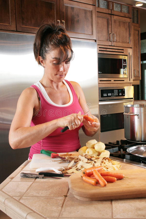Download Young Woman Preparing Soup stock image. Image of indoor - 3621015