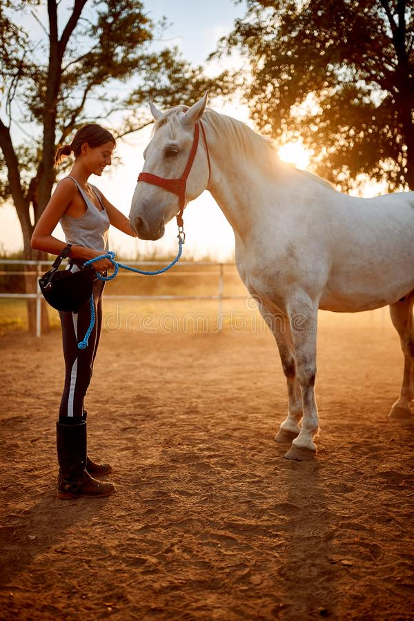 Young woman preparing to ride a horse stock photography