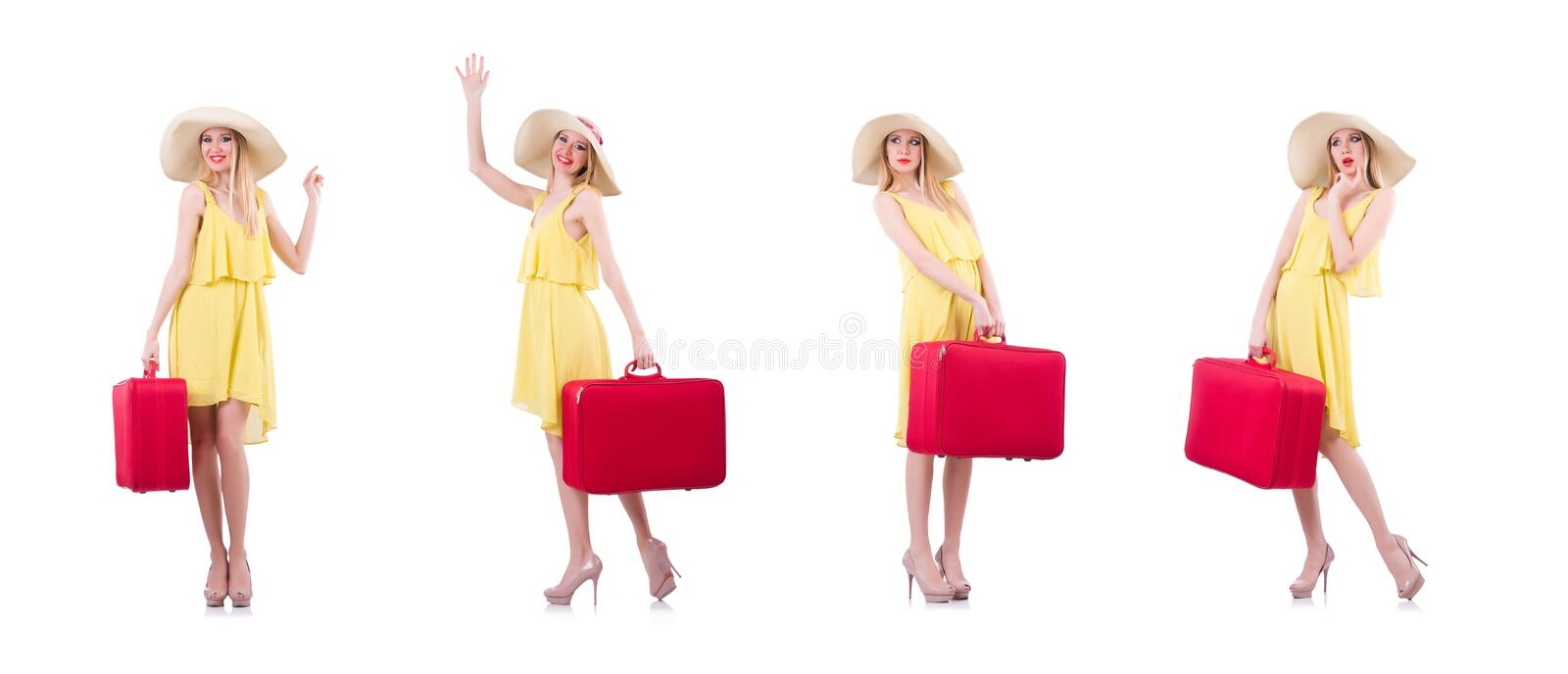 Young woman preparing for vacation stock photography