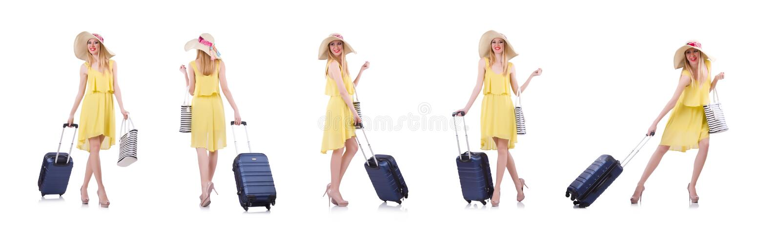 Young woman preparing for vacation royalty free stock photos