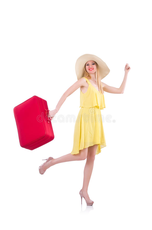 Download Young woman stock image. Image of girl, beach, luggage - 31601331