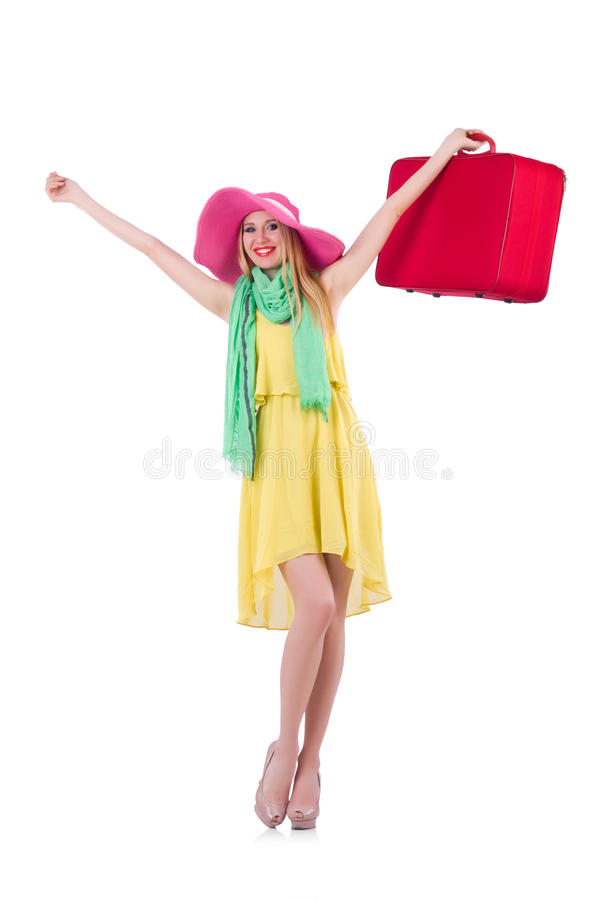 Download Young woman stock photo. Image of business, pink, luggage - 31753534