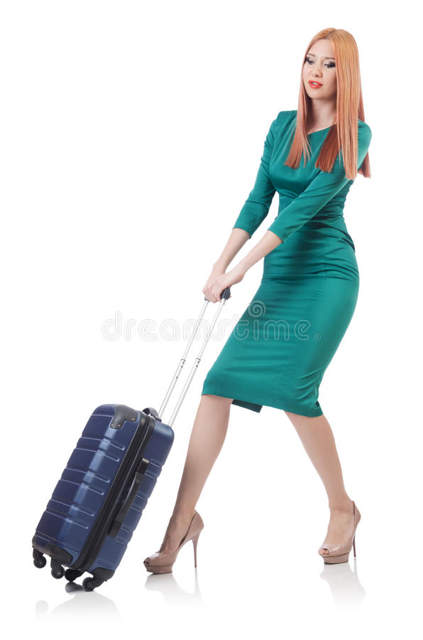 Download Young woman stock image. Image of beach, journey, baggage - 32587045