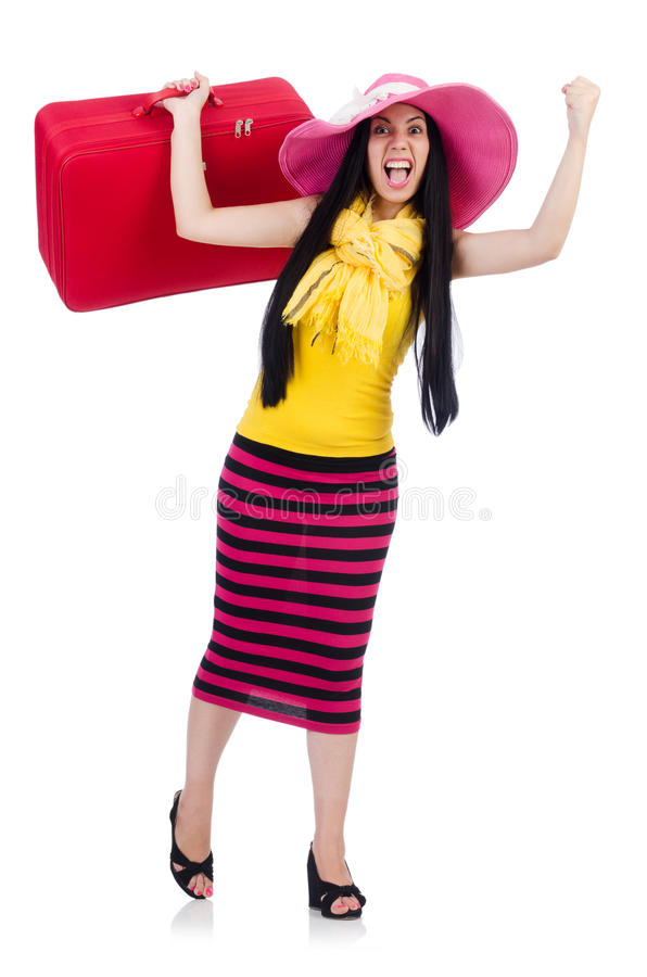 Download Young woman stock photo. Image of suitcase, background - 32587092