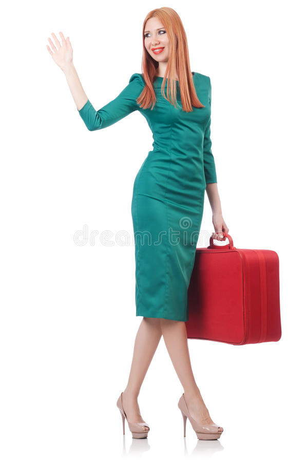 Download Young woman stock photo. Image of caucasian, suitcase - 33680062