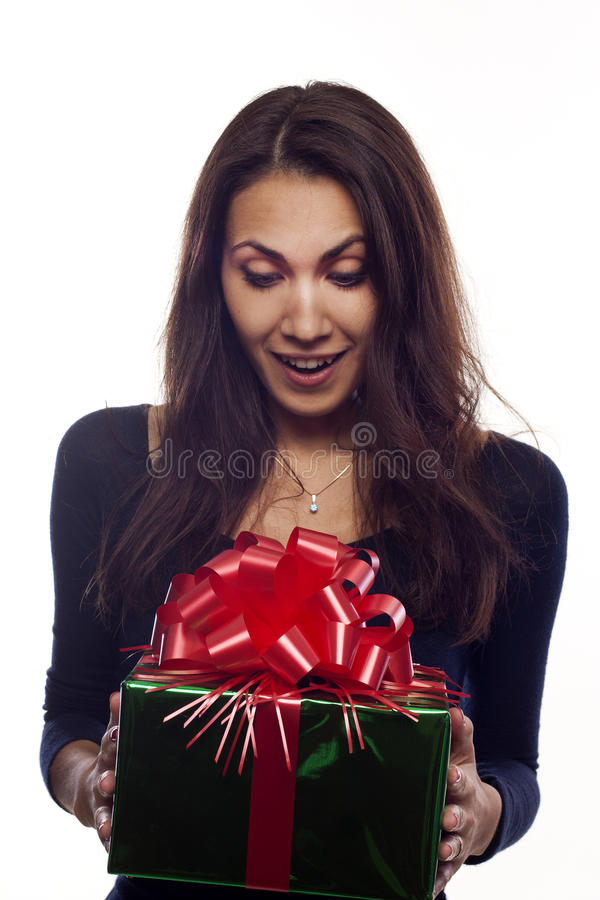 Download Young woman with a present stock photo. Image of person - 22037250