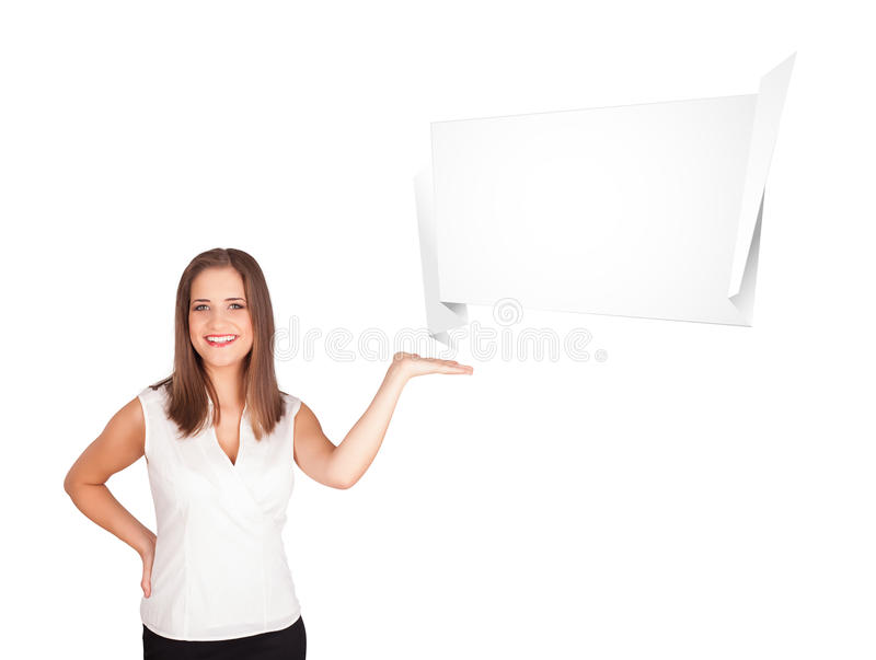 Download Young Woman Presenting Abstract Origami Copy Space Stock Illustration - Image: 27884426