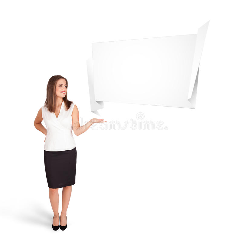 Young woman presenting abstract origami copy space. Beutiful young woman presenting abstract origami copy space isolated on white stock illustration