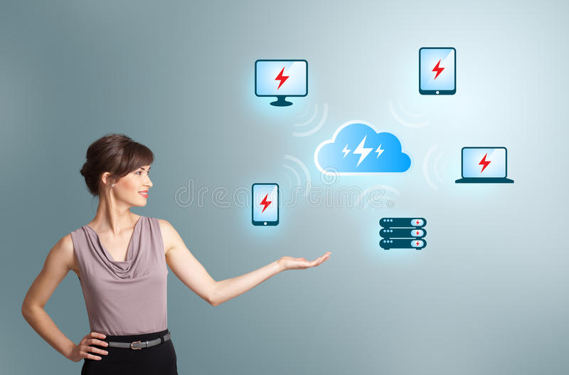 Young woman presenting cloud computing network. Beautiful young woman presenting cloud computing network stock photography