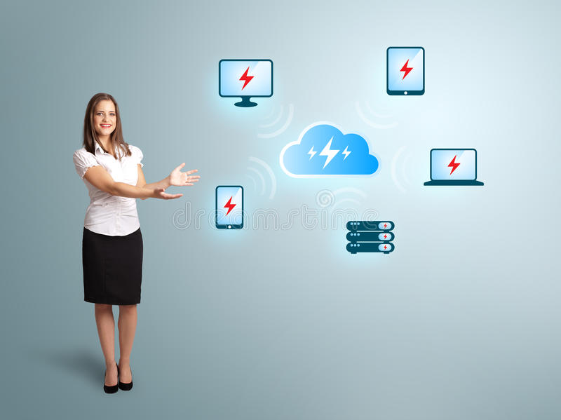 Young Woman Presenting Cloud Computing Network Stock Image