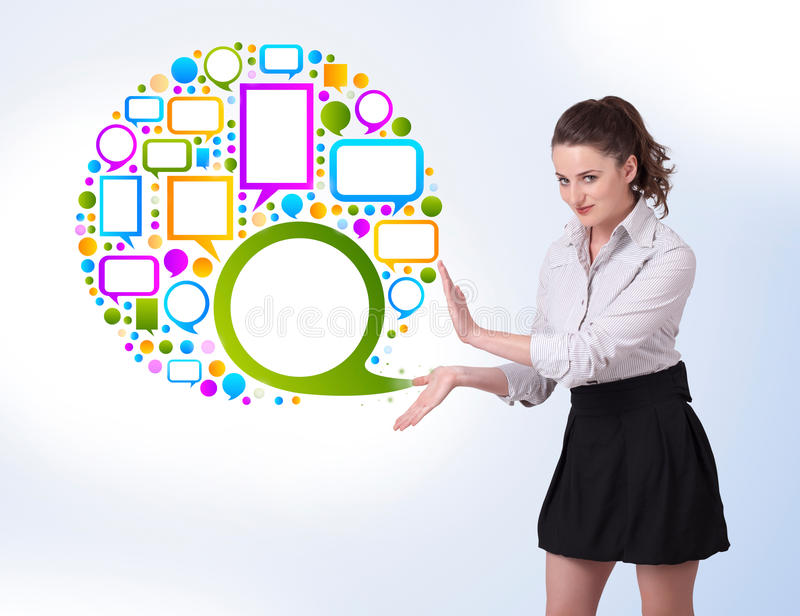 Download Young Woman Presenting Colourful Speach B Stock Illustration - Illustration: 27643559