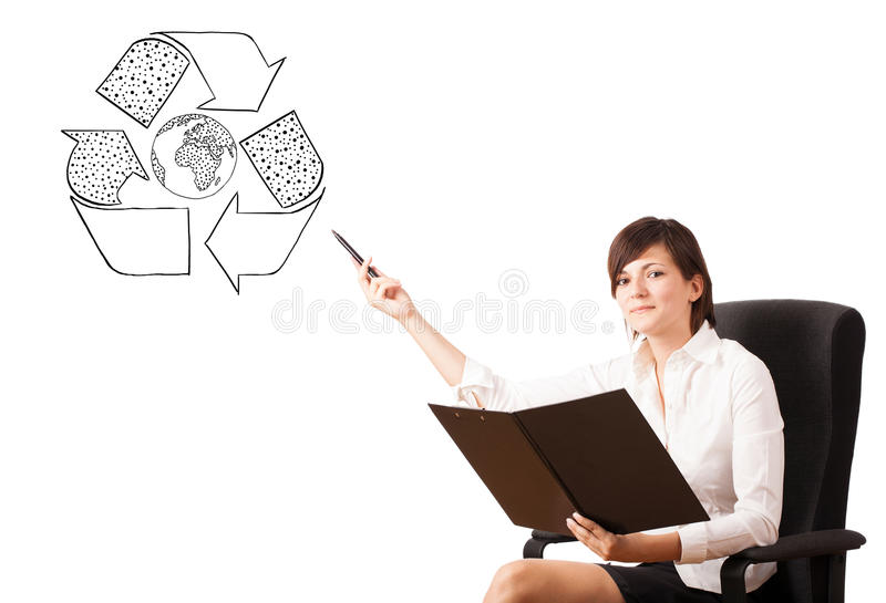 Young Woman Presenting Recycle Globe On Whiteboard Stock Images