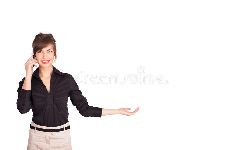 Download Young Woman Presenting White Copy Space Stock Illustration - Image: 28655962
