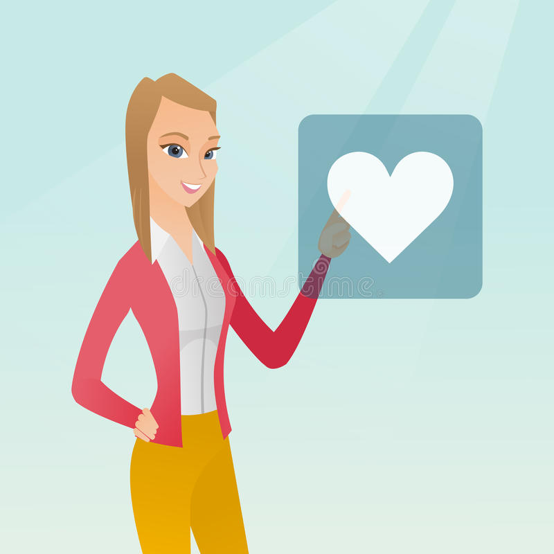 Young woman pressing heart shaped button. stock illustration