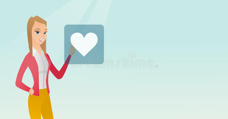 Young woman pressing heart shaped button. royalty free illustration