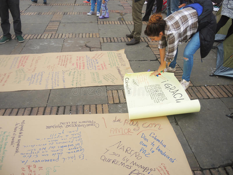 Young woman in protest in Bogota, Colombia. royalty free stock images