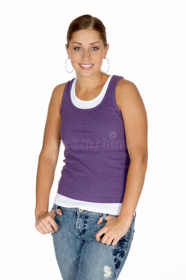 Young Woman in Purple Tank Top. Pretty Young Woman in Purple Tank Top royalty free stock images