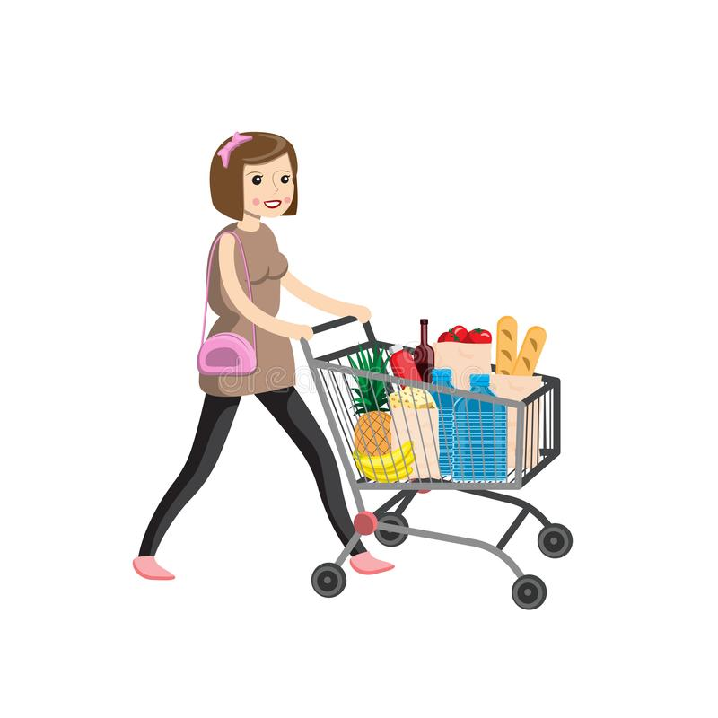 Young woman pushing supermarket shopping cart full of groceries. Flat style vector illustration isolated on white background royalty free illustration