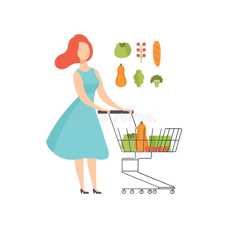 Young woman pushing supermarket shopping cart full of healthy food, girl buying vegetables at the grocery shop vector royalty free illustration