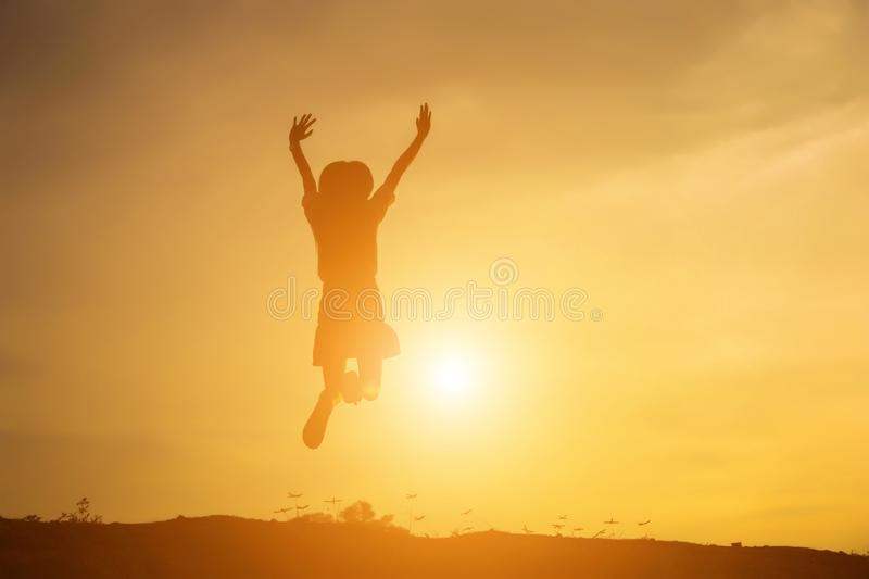 Young woman raise hands up for her success, Concept of Success in life royalty free stock photography