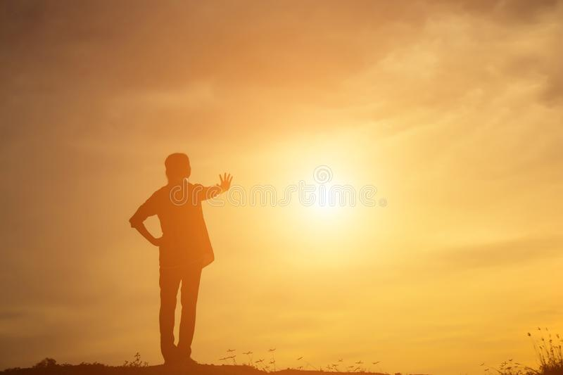 Young woman raise hands up for her success, Concept of Success in life royalty free stock images