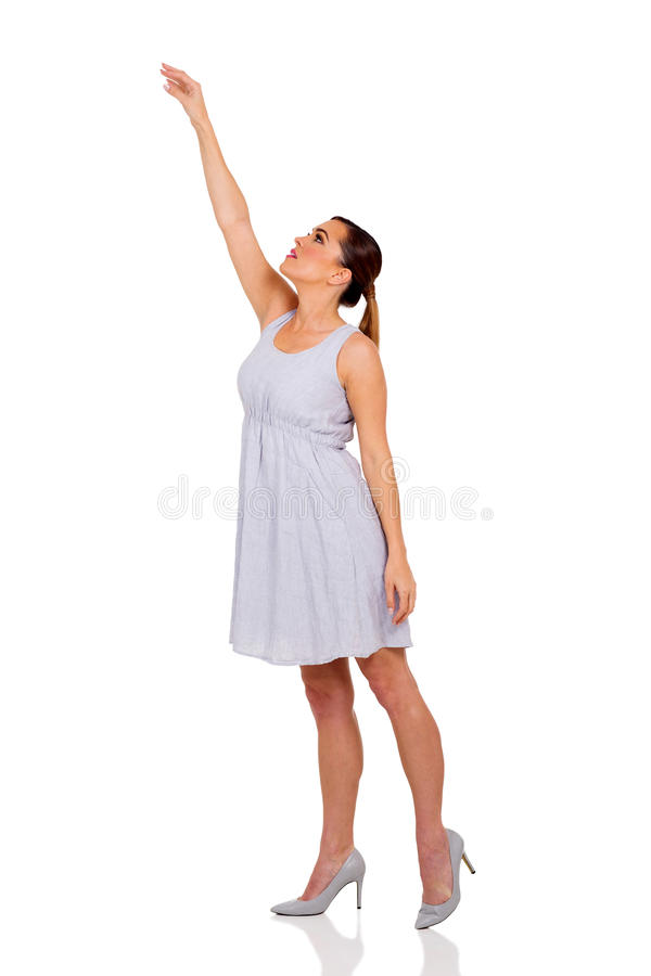 Young woman reach out royalty free stock images
